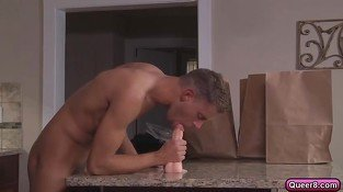 Cute gay hunk twink on hardcore threesome