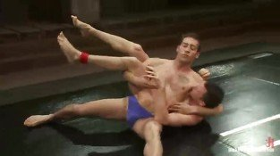 Horny gay hunks love wrestling in ring as foreplay