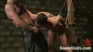 Submissive gay slave got his asshole and mouth violated