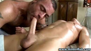Straight guy sucked and fucked by masseuse