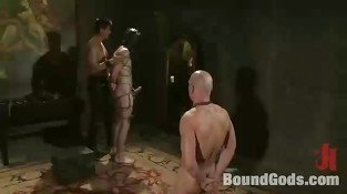 Bald gay dude tortured by Asian hunk