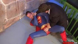 Superman get's used BALLBUSTING WEDGIE COSPLAY HANDJOB