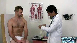 Great looking straight guy undressing before his gay doctor