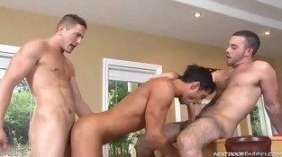 Gay studs enjoying threesome and a doggy style