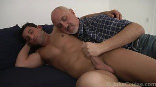 Hot tanned gay stud in jeans gets his dick sucked by gay daddy