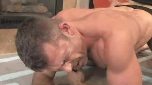 Oral and anal gay sex for rugged guy