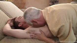 Pale muscled gay gets blowjob and massage from mature gay