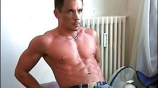 Handsome gay hunk shows hiss tig