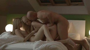 Two blondes threesome with lucky gay