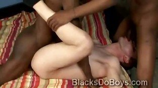 Horny boy Ricky Raw gets pounded by 2 black schlongs